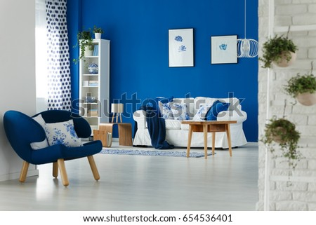 Trendy Blue And White Living Room Interior Design Part 90