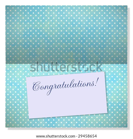 Trendy card with polkadots and label with copyspace to use as an announcement or greeting card