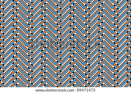 Trendy chevron patterned background brown, blue, white and black