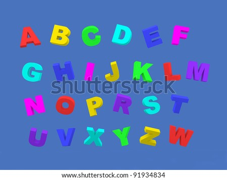 Trendy Colorful Alphabet - This is a 3d render illustration - stock photo