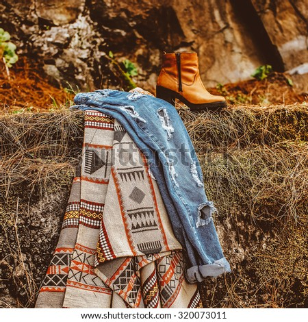 Trendy Fall Fashion Country Style Lady - stock photo