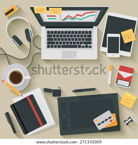 Trendy Flat Design Illustration: Hardworking. Icons set of business work flow items, elements and gadgets - stock photo