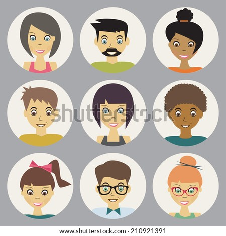 trendy flat people icons set - stock photo