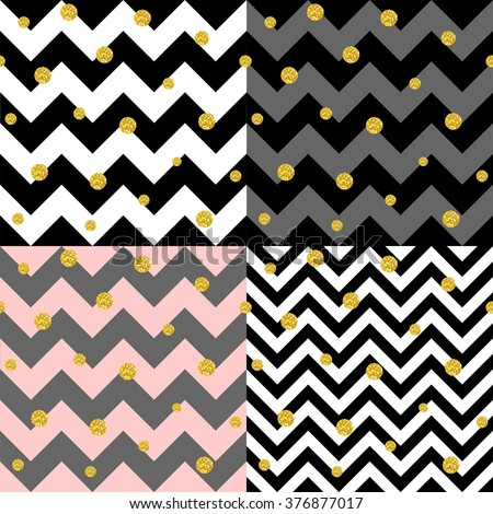 Trendy Glittering Gold Polka Dot And Chevron Patterns Set Great Texture With Golden Middle