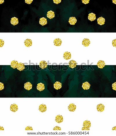 Trendy Gold Glitter Seamless Polka Dot Pattern Great Texture With Golden Middle Size Dots