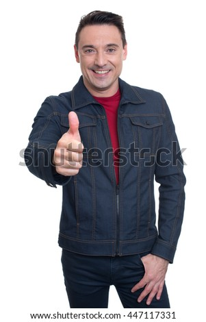 Trendy handsome young man showing his thumb up. isolated on white background