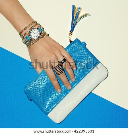 Trendy Jewelry and Stylish clutch. Summer Lady Fashion. - stock photo