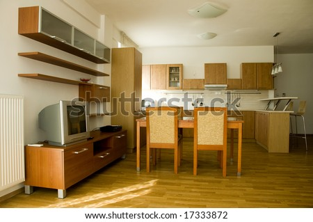 Trendy living room connected with kitchen