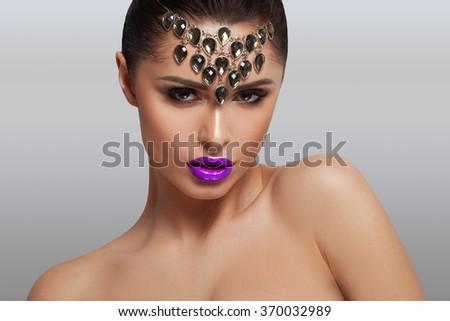 Trendy makeup portrait - stock photo