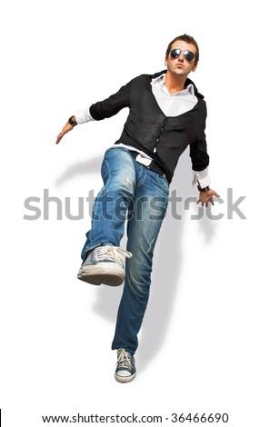 trendy man jumping - stock photo