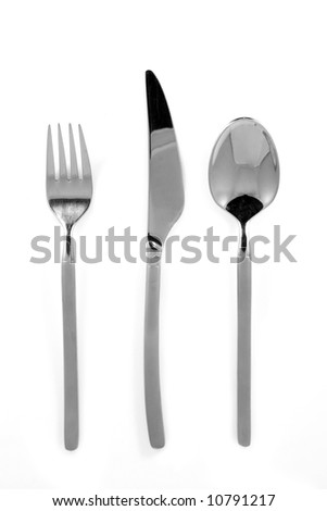 Trendy metal fork, knife and spoon isolated on white. - stock photo