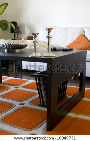 Trendy Modern Dining Room and Dinner Table - stock photo