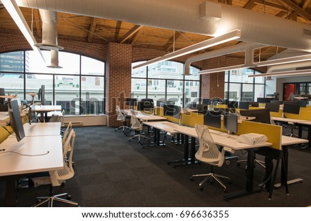 trendy office. Trendy Modern Open Concept Loft Office Space With Big Windows, Natural Light And A Layout .