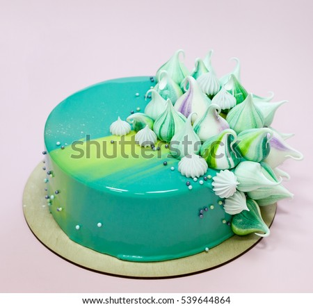 Trendy Mousse Cake Decorated Mint Green Stock Photo 539644864