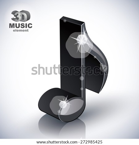 Trendy slim musical note 3d modern style icon isolated, 3d music element, image contain transparent shadows reflections and flares  ready to put over any background. - stock photo