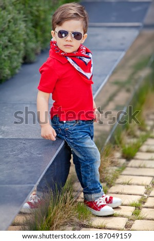 Trendy small boy - stock photo