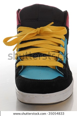 trendy style of skateboarding shoe with reflection on white background - stock photo