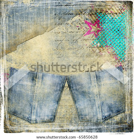 trendy vintage background with pockets - stock photo