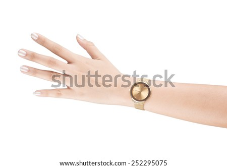 trendy wrist watch on woman hand isolated on white background. - stock photo