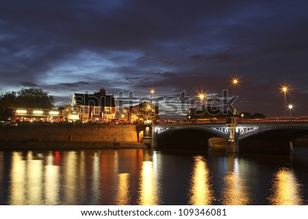 Trent Bridge at Night, Nottingham - stock photo