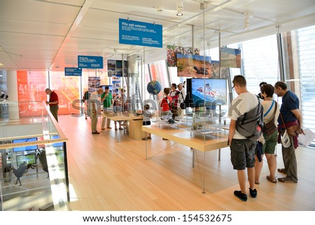 TRENTO, ITALY- AUGUST 6: the Muse, interactive museum designed by architect Renzo Piano, was inaugurated on 23 July 2013. For a new communication and knowledge on August 6, 2013 in Trento- Italy - stock photo
