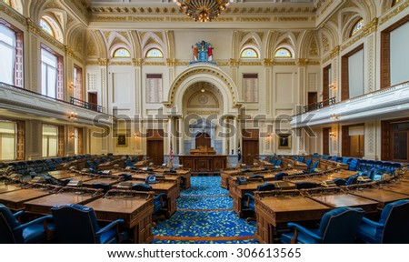 TRENTON, NEW JERSEY - JULY 22: General Assembly, or House of Representatives chamber of the New Jersey State House on July 22, 2015 in Trenton, New Jersey - stock photo