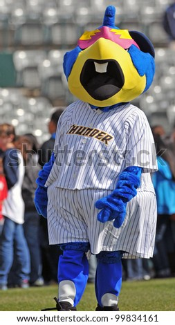 TRENTON, NJ - APRIL 11: Trenton Thunder mascot Boomer walks on the field prior to the start of the Easter League game against Portland April 12, 2012 in Trenton, NJ.