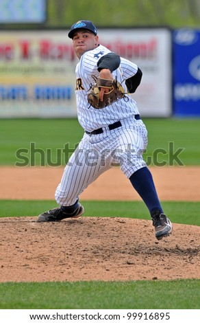 TRENTON, NJ - APRIL 11: Trenton Thunder reliever Ryan Flannery delivers a pitch during the Eastern League game against the Sea Dogs April 11, 2012 in Trenton, NJ.