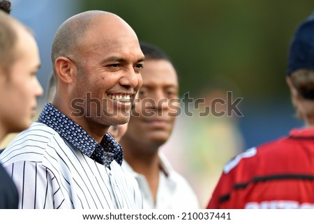 TRENTON, NJ - August 7: Mariano Rivera, former New York Yankees great, makes an appearance prior to the Eastern League minor league baseball game played August 7, 2014 in Trenton, NJ.
