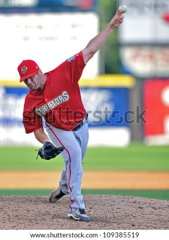TRENTON, NJ - JULY 29: Harrisburg pitcher Patrick McCoy throws a pitch during an Eastern League baseball game July 29, 2012 in Trenton, NJ.