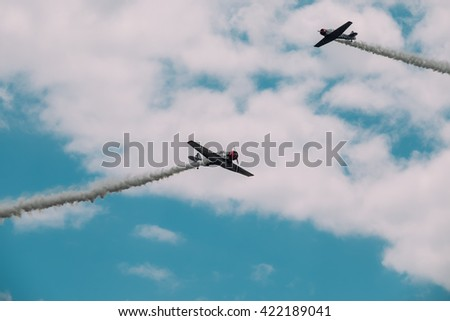 Trenton,NJ - May 15 2016: At a free air show at McGuire AFB, the Geico Skytypers do a fighting maneuver