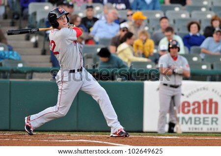 TRENTON, NJ - MAY 11: Portland Sea Dogs batter Kolbrin Vitek swings at a pitch during an Eastern League game against Trenton May 11, 2012 in Trenton, NJ. - stock photo