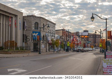 TRENTON, ONT - NOVEMBER 5: Dundas Street, one of the main thoroughfares in Trenton, Ontario photographed on November 5, 2015   - stock photo