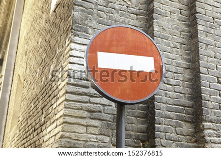 Trespassing sign in the city, detail of a signal and traffic prohibition, information - stock photo