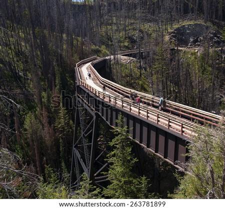 Trestle in Myra Canyon, British Columbia, Canada - stock photo