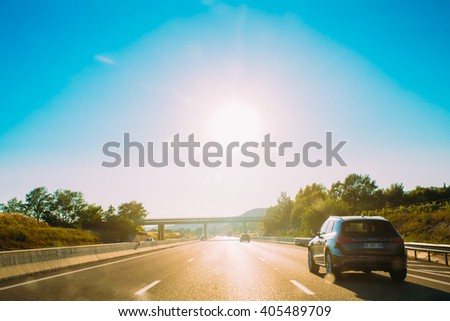 Trets, France - June 28, 2015: The movement of vehicles on freeway, motorway A8 - stock photo