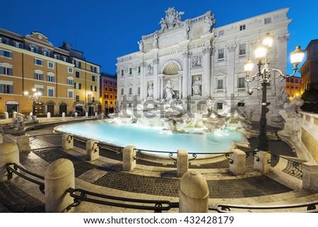 Trevi fountain by night, Rome, Italy. - stock photo