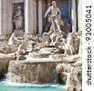 Trevi fountain during a sunny day, Rome, Italy - stock photo