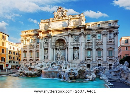 Trevi Fountain, rome, Italy. - stock photo