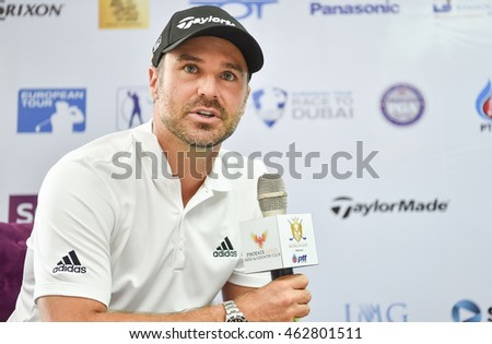 Trevor Immelman of South Africa  answers questions  during before match  the Press Conference  the King's Cup 2016 at Phoenix Gold Golf and Country Club on July 27, 2016 in Pattaya, Thailand.