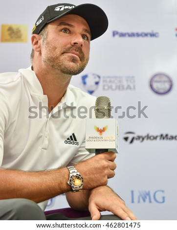 Trevor Immelman of South Africa look on  during the Press Conference before match  the King's Cup 2016 at Phoenix Gold Golf and Country Club on July 27, 2016 in Pattaya, Thailand.