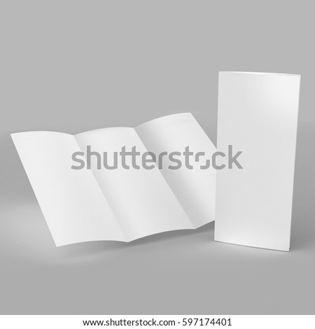 Tri Fold Brochure Template White Mock Stock Illustration - 3d brochure template