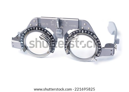 trial frame - eye glasses equipment       - stock photo