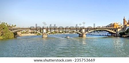 Triana bridge. Seville, Spain. - stock photo