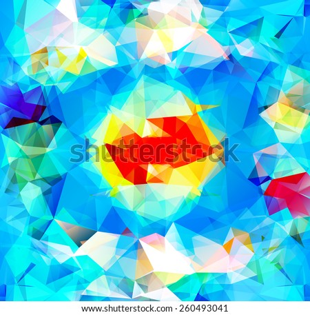 Triangle background with bright lines. Pattern of crystal geometric shapes. Multicolor mosaic banner. Abstract background. Raster version - stock photo