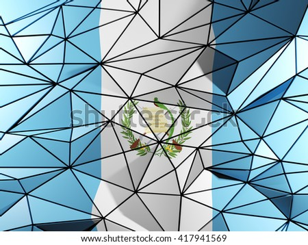 Triangle background with flag of guatemala. 3D illustration