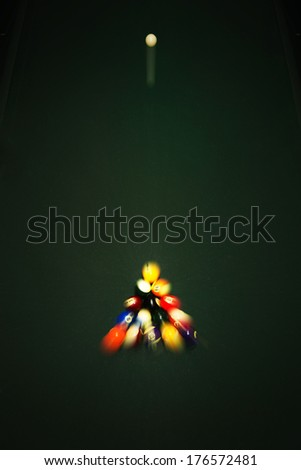 Triangle Billiards and ball top view - stock photo