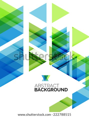 Triangle geometric abstract background, colorful business or technology design on white with sample text - stock photo