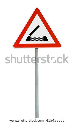 Triangle on rod road sign swing bridge