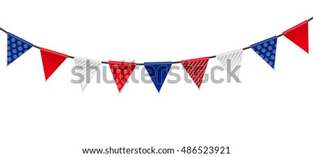 Triangle Papers Flags on White Background  Illustration.
